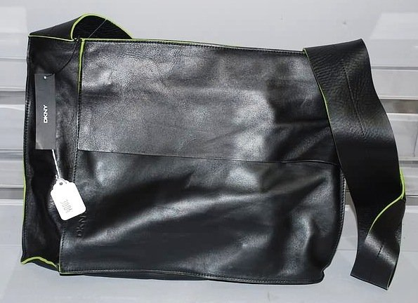 3004: DKNY Black w/ Green Trim Leather Shoulder Handbag