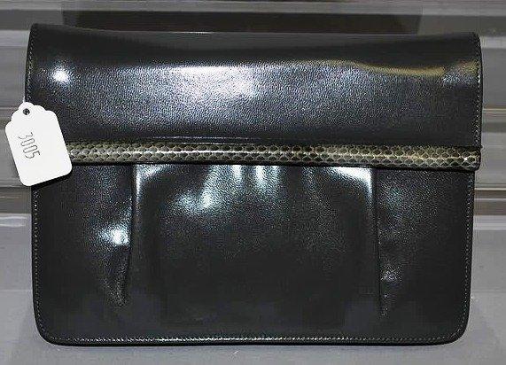 3005: Gray Snakeskin Clutch Handbag (Designer Unknown)