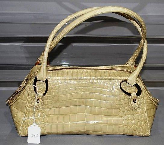 3006: J Lieber  Tan/Beige Alligator Satchel Handbag