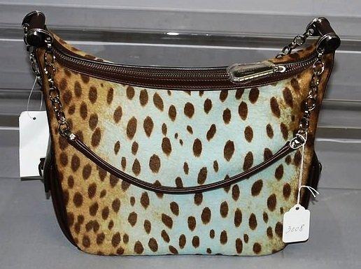 3008: Judith Lieber Brown Handbag w/ Animal Skin