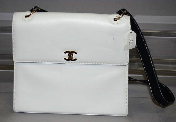3009: Chanel White Calf Handbag w/ Blue Strap/Gold Acce