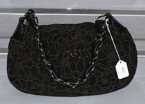 3010: Chanel Brown Suede Handbag - Black & Silver Chain