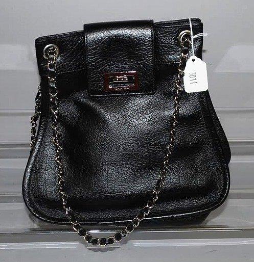 3011: Chanel Black Handbag w/ Silver and Black Chain