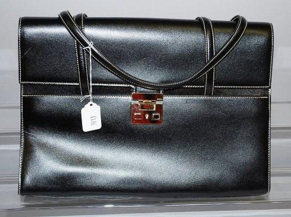 3013: Gucci Large Black Calf Handbag w/ White Stitching