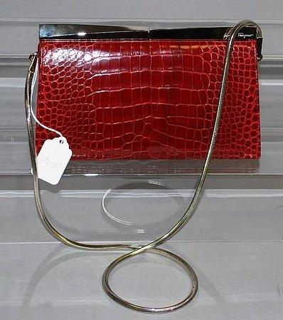3015: Sal. Ferragamo Red Alligator Clutch Handbag