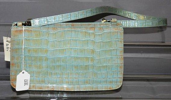 3017: Furla Blue and Bronze Alligator Handbag