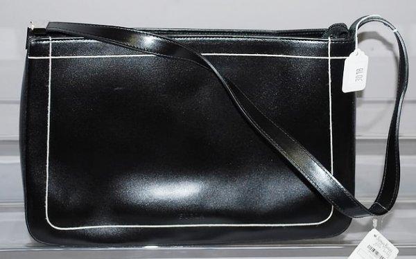 3018: Furla Navy Calf Handbag w/ White Trim