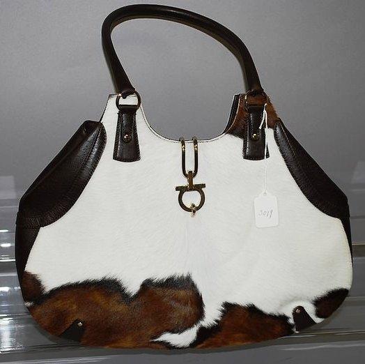 3019: Sal. Ferragamo Brown Leather Horse Hide Handbag