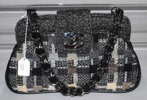 3021: Chanel Black/Gray/Tan Tweed Handbag