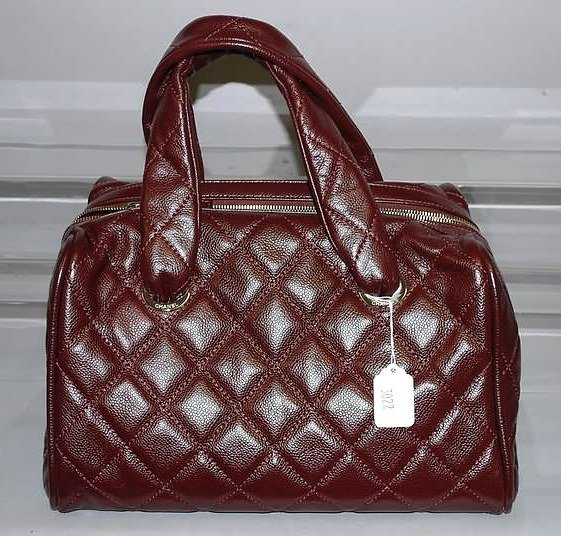3022: Chanel Wine Leather Quilted Satchel Handbag