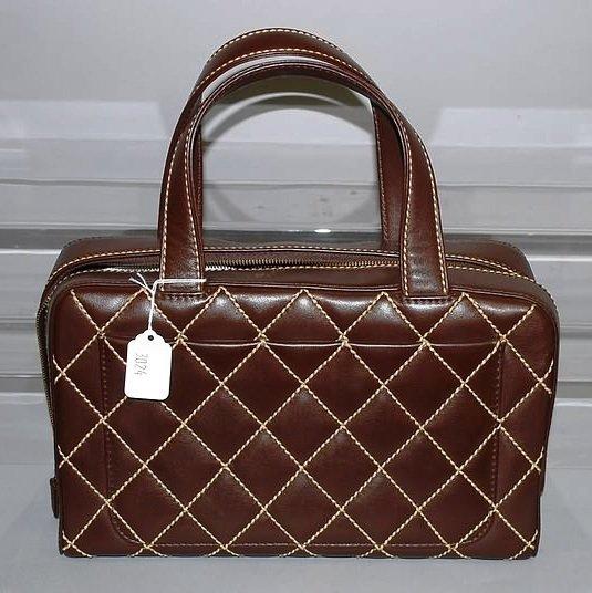 3024: Chanel Brown Leather Handback w/ Tan Stitching