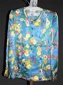 3236 Andr Laug Blue Floral Silk Long Sleeve Blouse