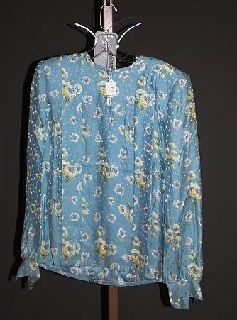 3260: André Laug Aqua Floral Silk L-Sleeve Blouse
