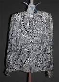3266: André Laug Black Silk L-Sleeve Print Blouse