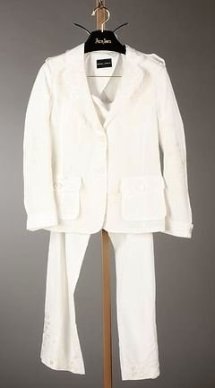 3373: Rena Lange Cream Silk Jacket & Slacks (12)