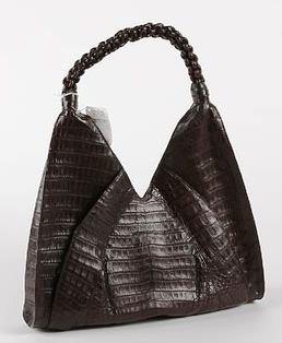 3501: Nancy Gonzalez Brown Legal Crocodile Handbag