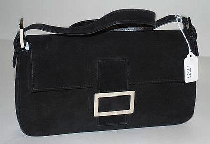 3533: Stuart Weitzman Black Suede & Leather Handbag