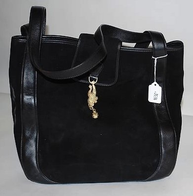 3534: Kieselstein-Cord Black Suede and Leather Tote
