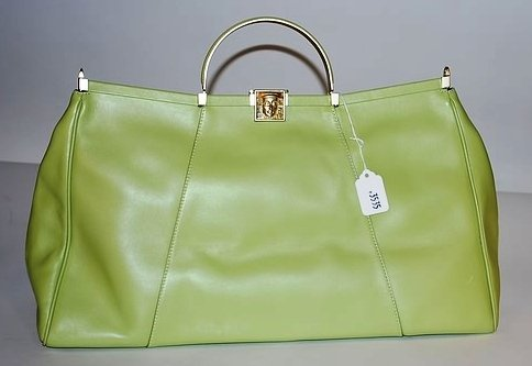 3535: Kieselstein-Cord Large Green Leather Handbag