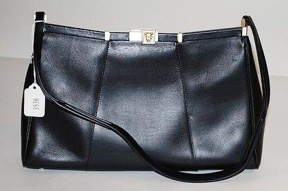 3536: Kieselstein-Cord Black Leather Handbag