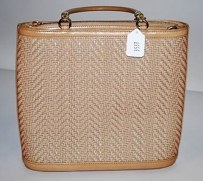 3537: Kieselstein-Cord Tan Woven Leather Handbag