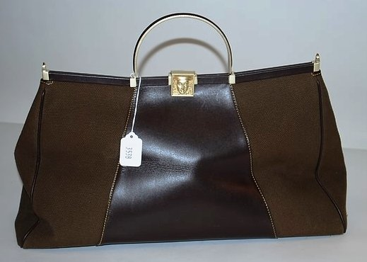 3538: Kieselstein-Cord Brown Leather/Cloth Tote