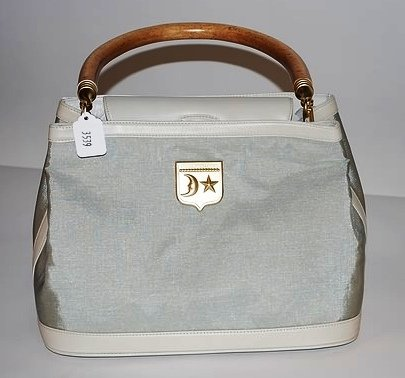 3539: Kieselstein-Cord Tan & Green Leather Handbag
