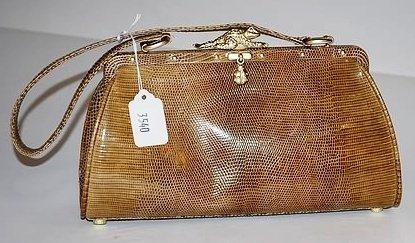 3540: Kieselstein-Cord Brown Lizard Handbag
