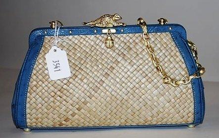 3541: Kieselstein-Cord Blue/Tan Ostrich/Straw Handbag