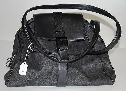 3543: Dolce & Gabana Large Black Leather/Denim Tote