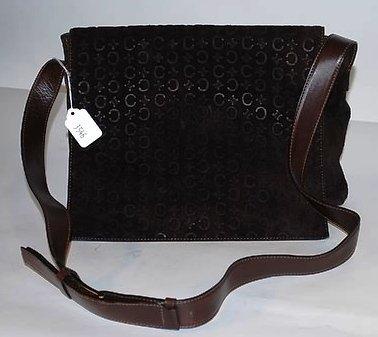 3546: Celine Brown Suede/Leather Shoulder Bag