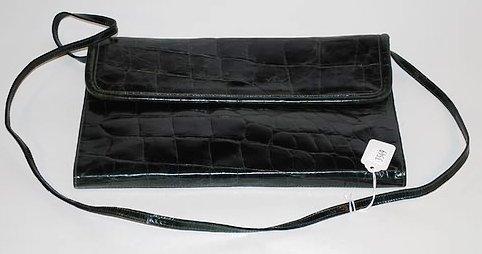 3549: Furla Large Green Leather Alligator Handbag