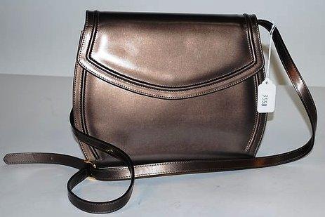 3550: S Ferragamo Bronze Leather Handbag