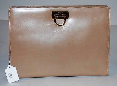 3551: S Ferragamo Tan Handbag w/ Gold Chain