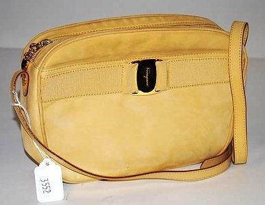 3552: S Ferragamo Yellow Deerskin/Suede Handbag