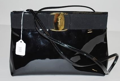 3553: S Ferragamo Black Patent Leather Handbag