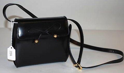 3554: S Ferragamo Small Black Calf Leather Handbag