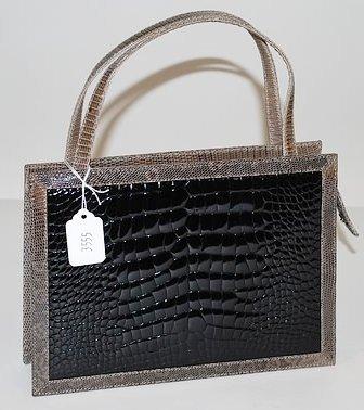 3555: Tanner Krolle Small Gator/Lizard Trim Handbag