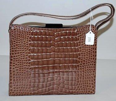 3556: Tanner Krolle Rose Brown Alligator Handbag