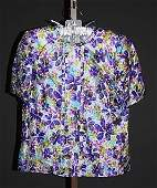 3621 Andr Laug Floral Short Sleeve Silk Blouse M
