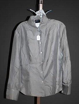 3632: Giorgio Armani Gray Long Sleeve Silk Blouse (12)