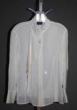3633: Giorgio Armani Ivory Silk Long Sleeve Blouse (12)