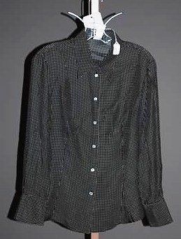 3636: Giorgio Armani Navy Long Sleeve Silk Blouse (12)