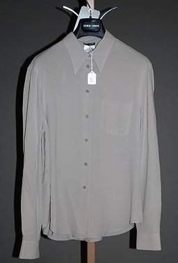 3639: Giorgio Armani Gray Silk Long Sleeve Blouse (12)