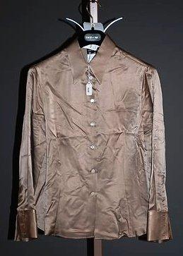 3640: Giorgio Armani Bronze Silk Long Sleeve Blouse (10