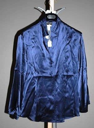 3644: Giorgio Armani Navy Silk Long Sleeve Blouse (12)