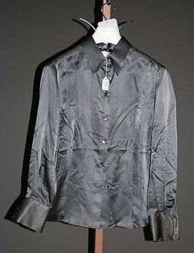 3648: Giorgio Armani Gray Long Sleeve Silk Blouse (12)