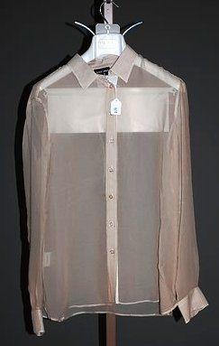3650: Giorgio Armani White Silk Long Sleeve Silk Shirt