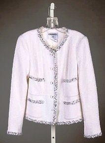 3711: Chanel White/Black Wool Jacket (10)