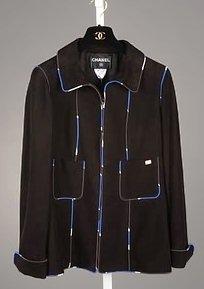 3715: Chanel Black Suede Leather Jacket (10)